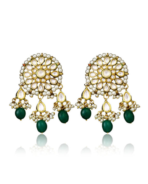 Silver Gold Plated Earrings With Green Emerald Pearl Drops - bAnuDesigns