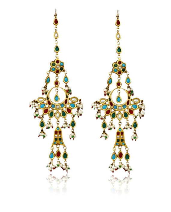 Silver Gold Plated Multi-colored Traditional Polki Crescent Earrings - bAnuDesigns