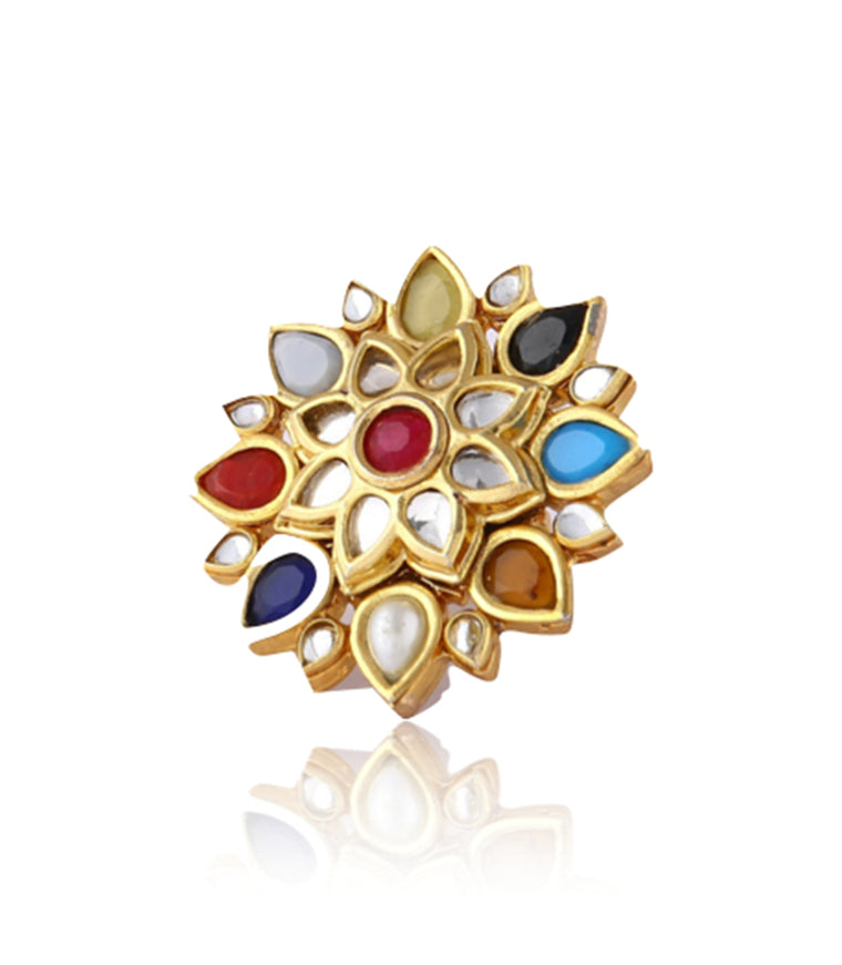 Silver Gold Plated Multi-colored Floral Ring With Polki Work
