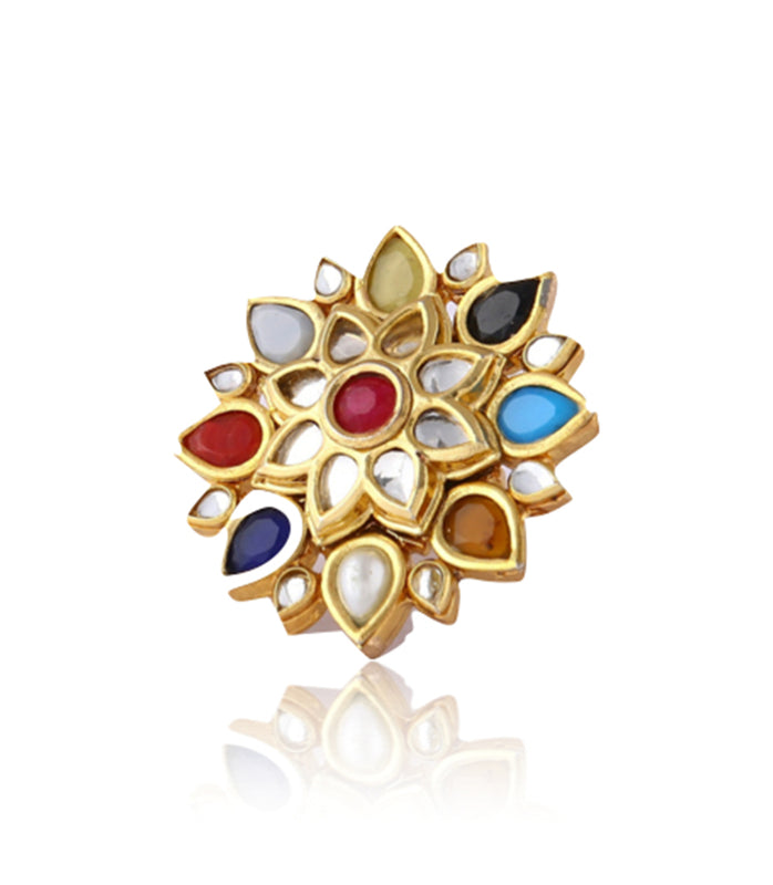 Silver Gold Plated Multi-colored Floral Ring With Polki Work - bAnuDesigns