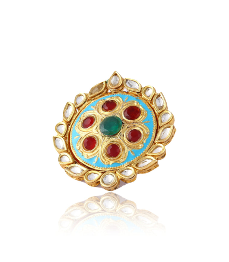 Silver Gold Plated Round Ring With Polki Work