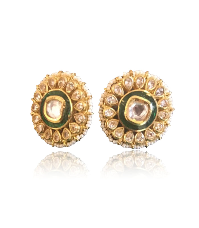 Silver Gold Plated Round Stud Earrings With Polki Work - bAnuDesigns