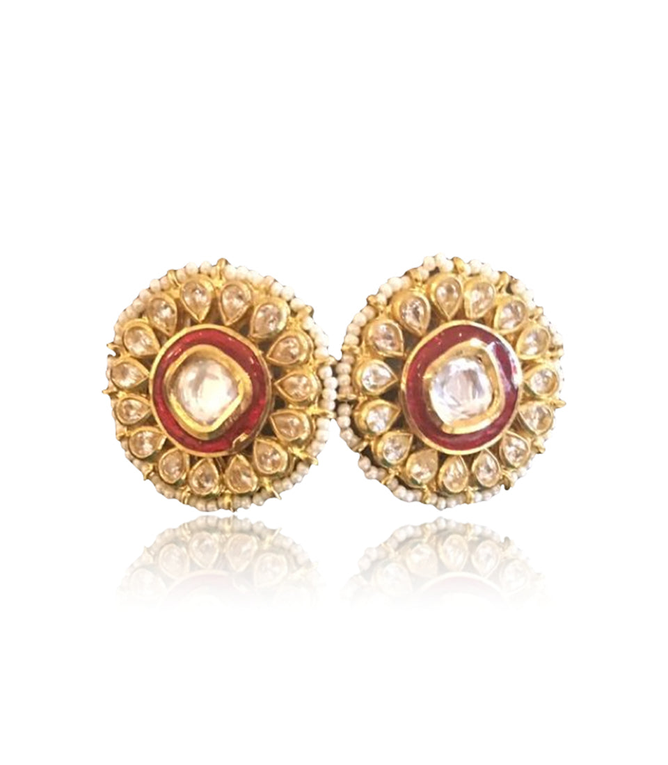 Round Stud Earrings With Polki Work