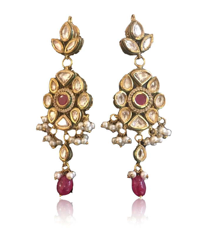 Silver Gold Plated Ethnic Kundan  Red Drop Earrings - bAnuDesigns
