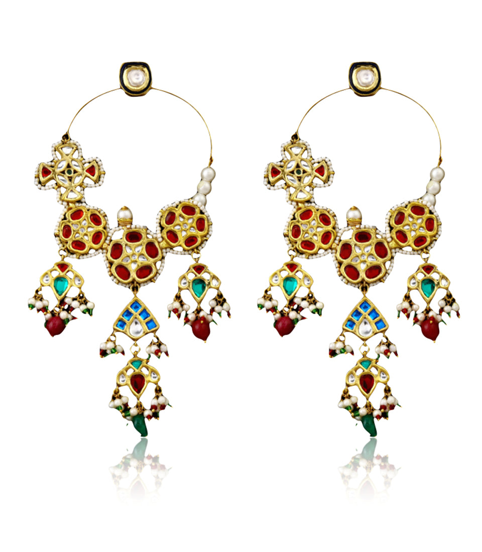 Multi-colored Traditional Hoop Earrings With Stone Drops - bAnuDesigns