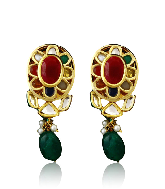 Multi-colored Floral Polki Earrings With Pearl Drops - bAnuDesigns