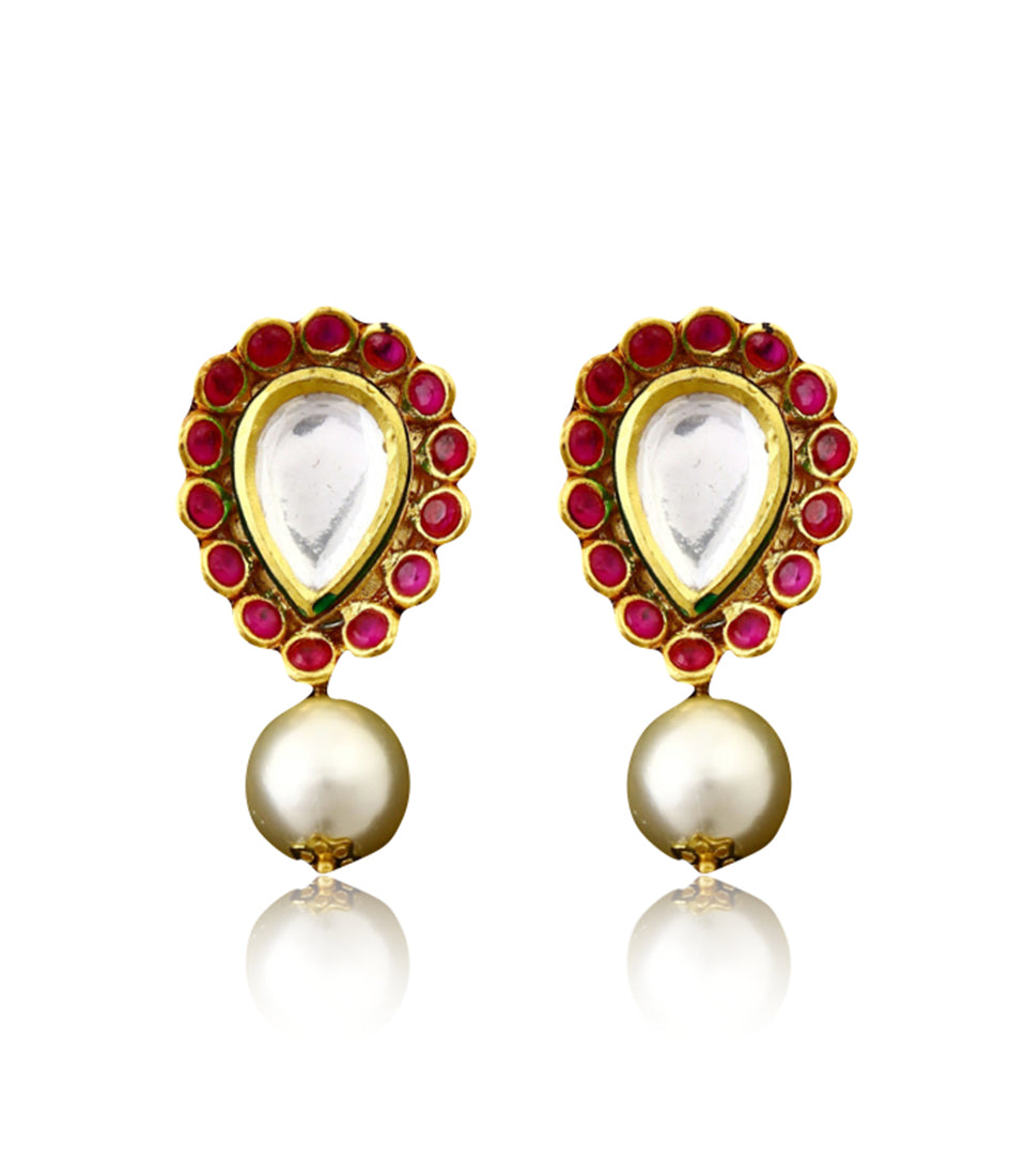 Pearl and Ruby Earrings