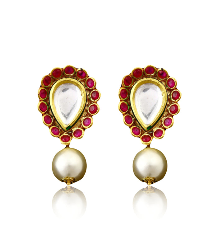 Silver Gold Plated Kundan Earrings With Pearl Drops - bAnuDesigns