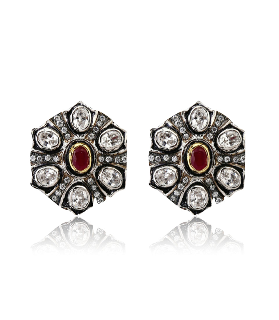 Oxidized Polki Stud Earrings With Stone Work - bAnuDesigns