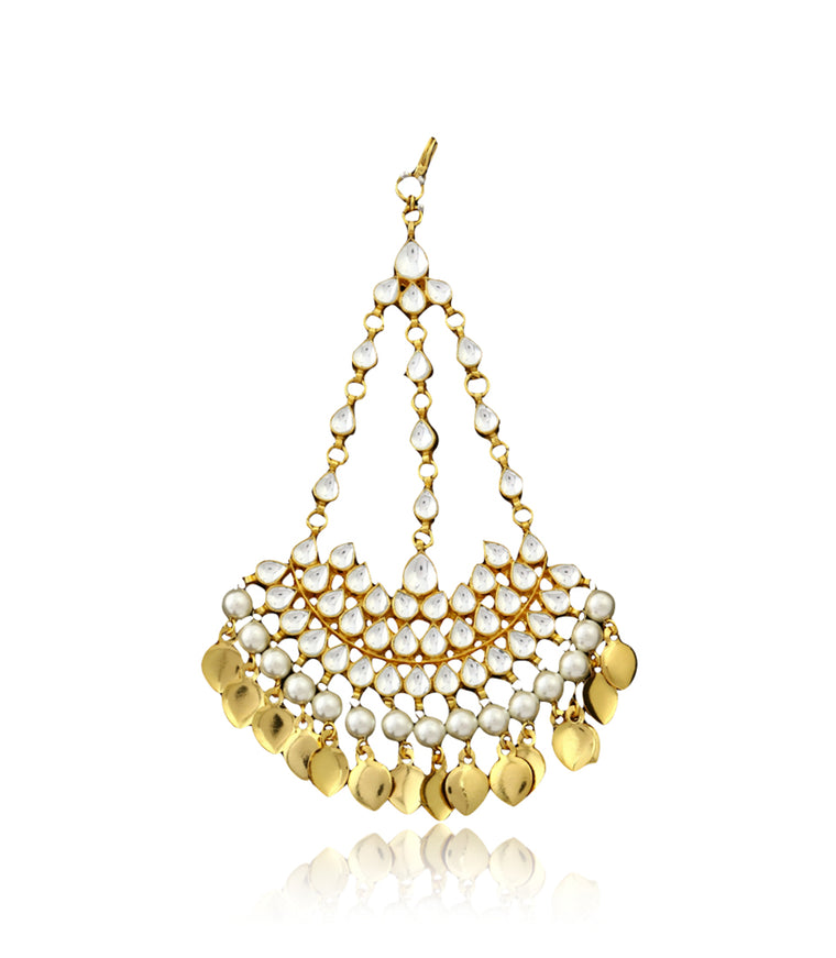 Silver Gold Plated Passa With Kundan Work & White Pearls