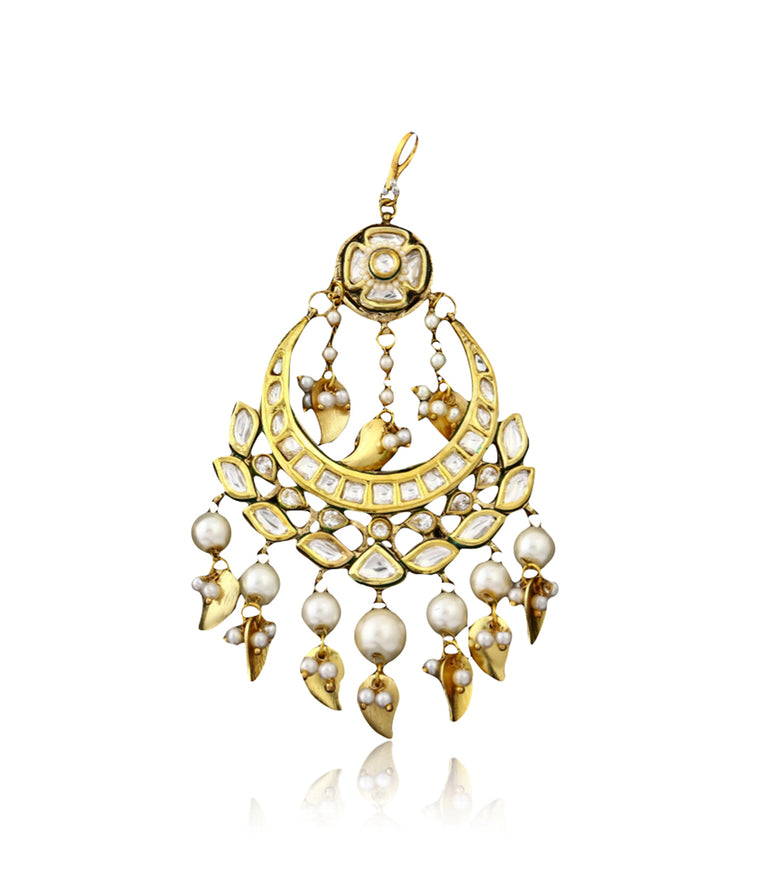 Silver Gold Plated Passa With Kundan Work & Pearl Drops