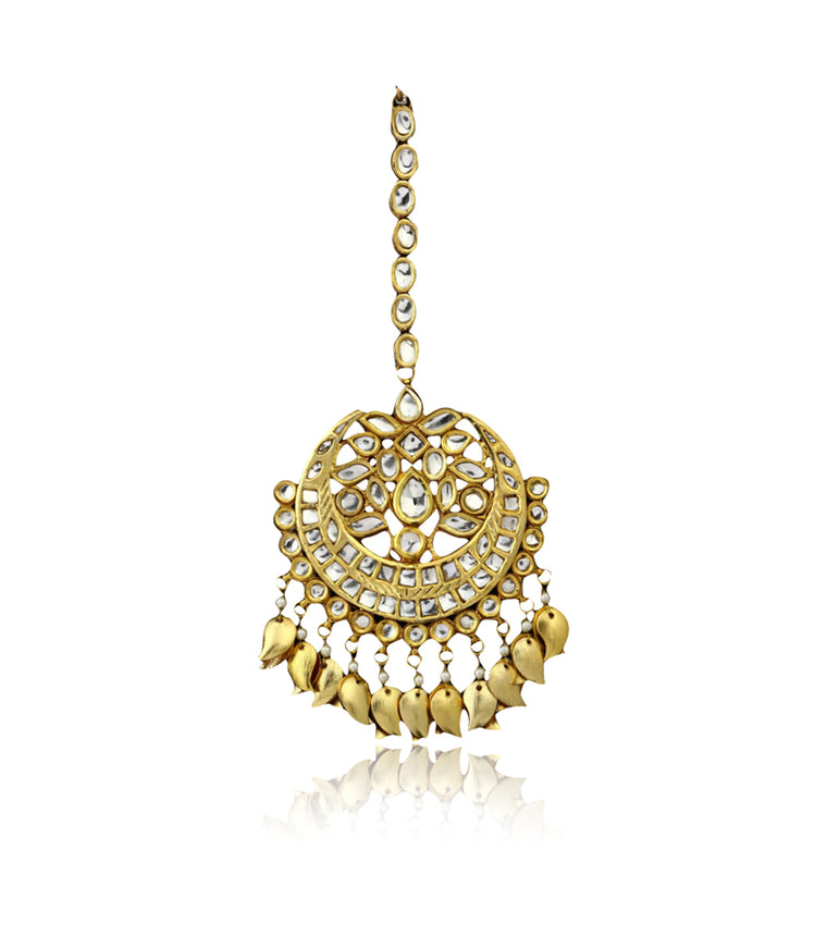Silver Gold Plated Floral Maang Tikka With Kundan Work