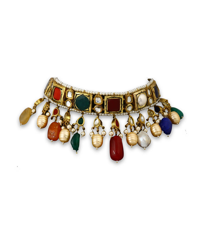 Multi-colored Choker With Polki Bridal