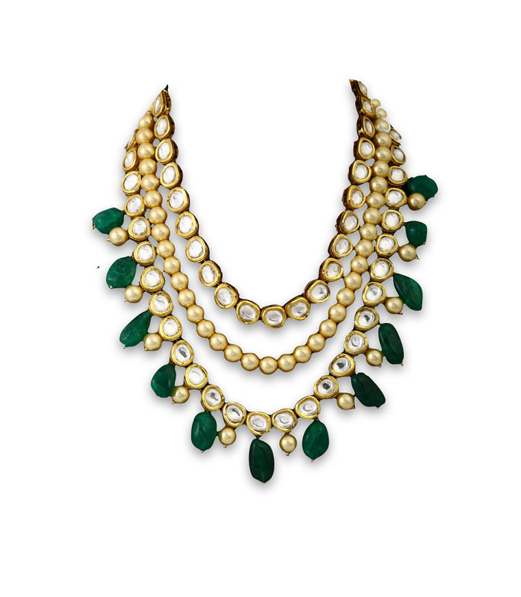 Multi-layered Necklace With Kundan Work & Pearl Drops
