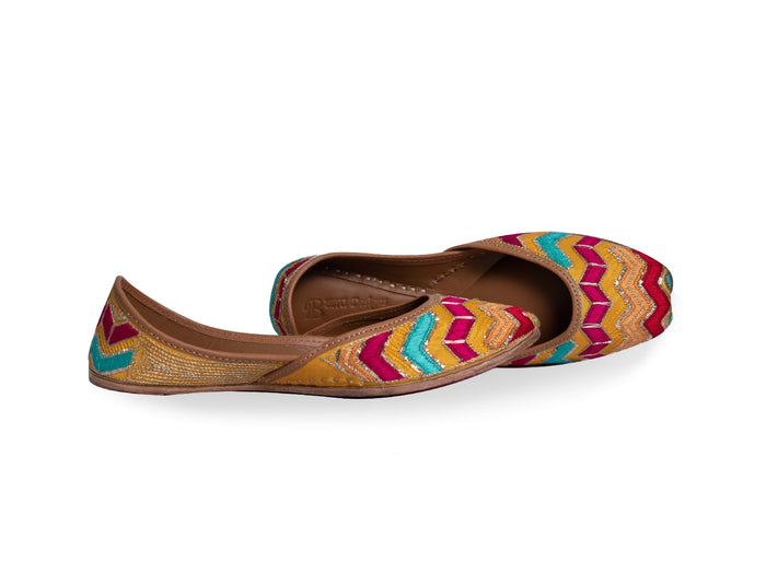 Rangoli - Multicolored Ladies' Punjabi Jutti with Hand Embroidered work