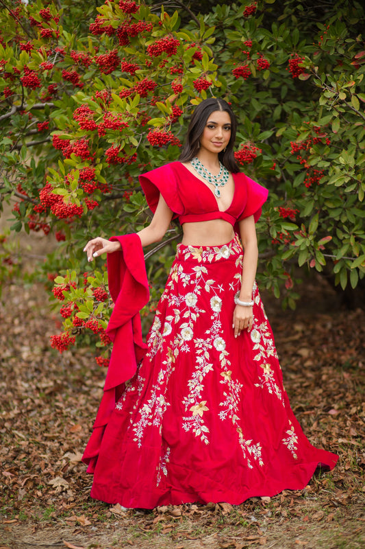 Hot pink Velvet Embroidered Lehenga choli with attached frill dupatta