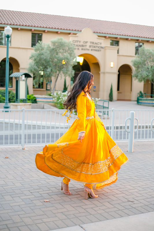mustard yellow anarkali