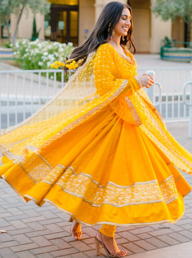 Wildflower Mustard Anarkali Suit
