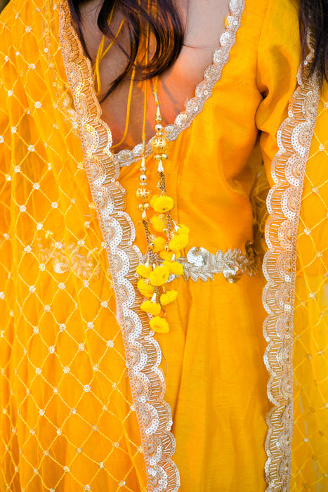 anarkali with tassels - yellow