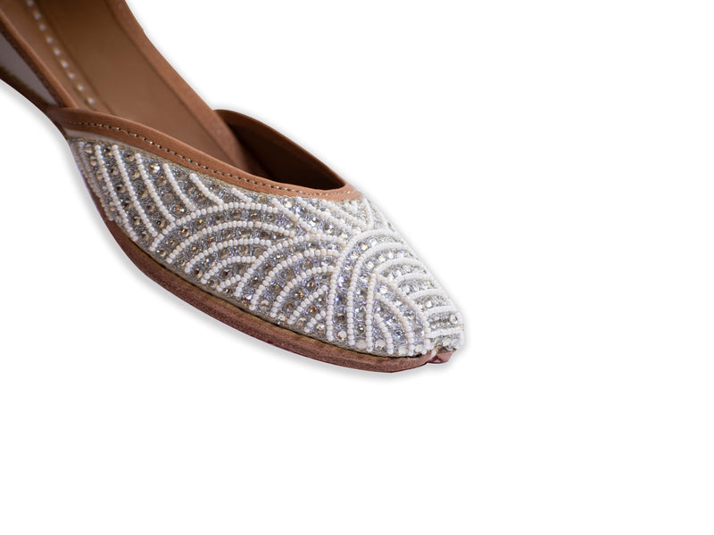 Stardust - White Punjabi Jutti for Ladies with Handcrafted Beadwork