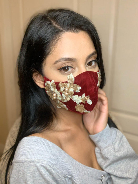 Velvet Face Mask - Red Designer Cloth Face Mask - bAnuDesigns