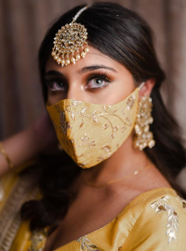 Bridal Silk Embroidery Face Mask - Yellow Gold - bAnuDesigns