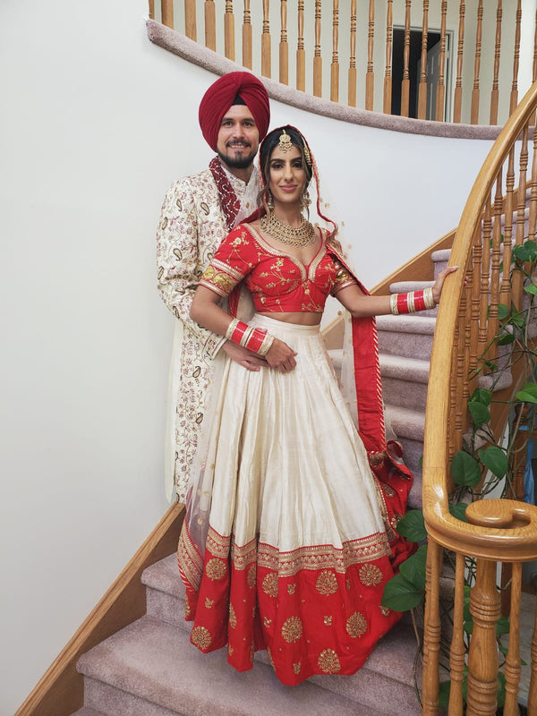 Red and White Minimalist Silk Lehenga for Modern Brides