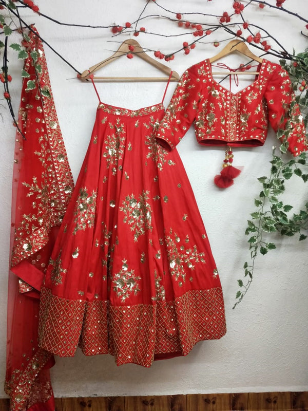 Classic red raw silk Bridal Lehenga choli with Dabka & Sequin embroidery