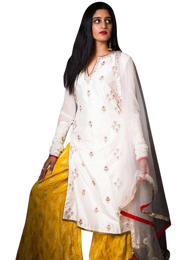 Ivory And Yellow Embroidered Anarkali - Afroza