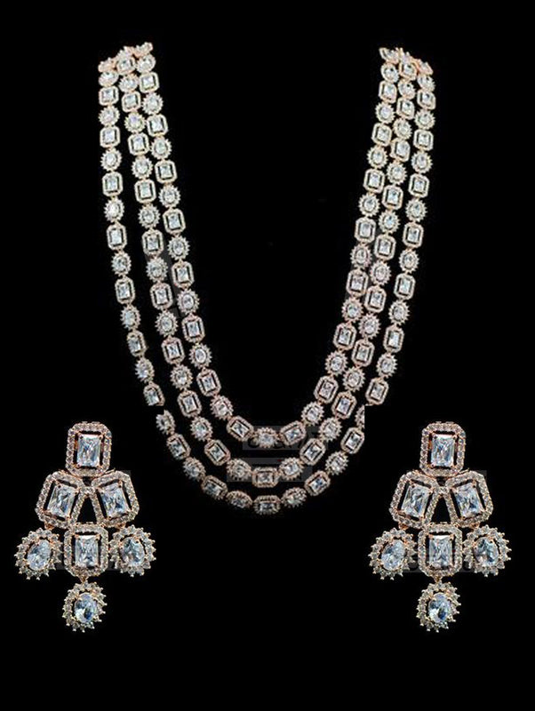 Aisha Set - CZ Long Necklace - bAnuDesigns
