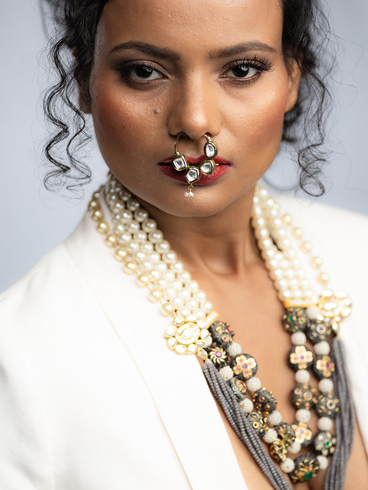 Ayana Multi Strand Pearls & Antique Meenakari Necklace