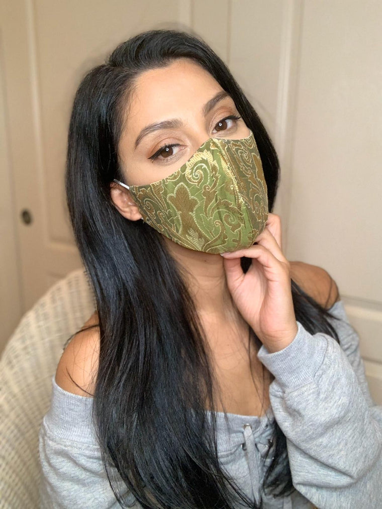 Brocade Face Mask - Green
