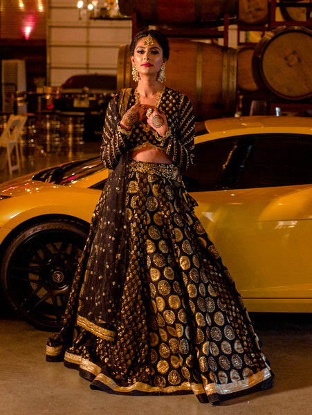 Black bridal lengha