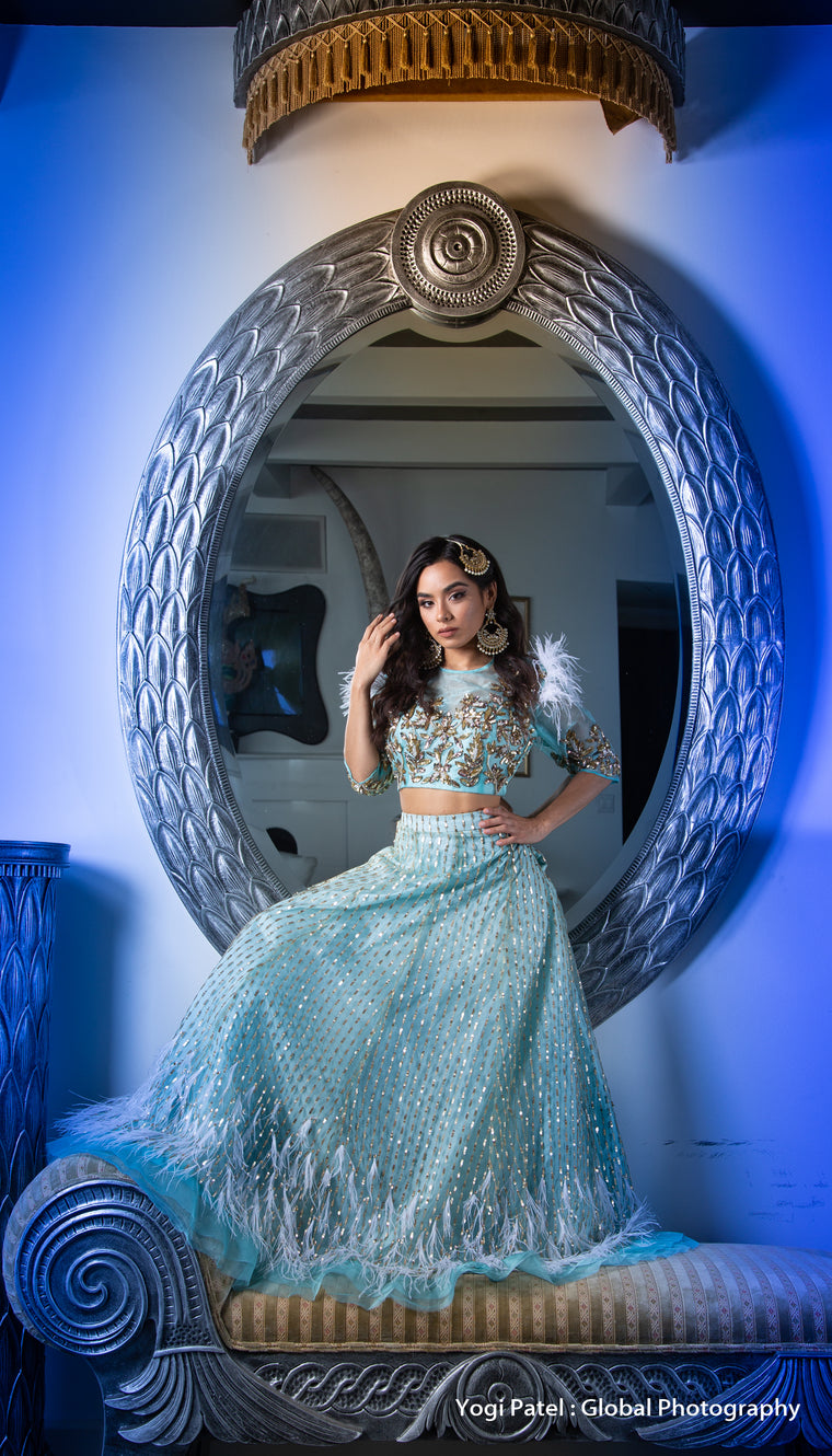 Closer Lengha -Net Lehenga with Sequin & Zardozi Work