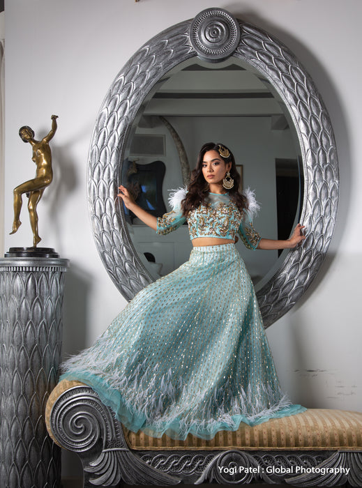 Closer Lengha -Net Lehenga with Sequin & Zardozi Work - bAnuDesigns