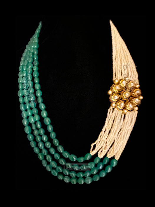 Chantel Emerald Broach Pearl Necklace - bAnuDesigns