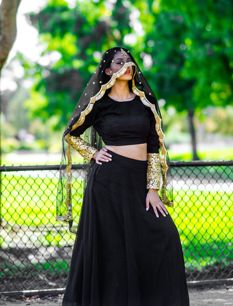 black gold lehenga for bridesmaids