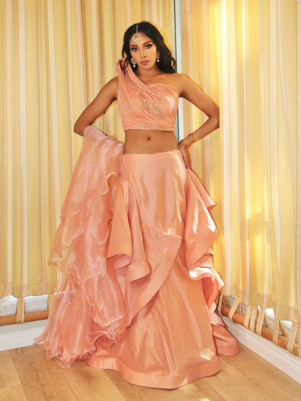 Coral Crush Reception Lehenga - Indian Bridal Wear