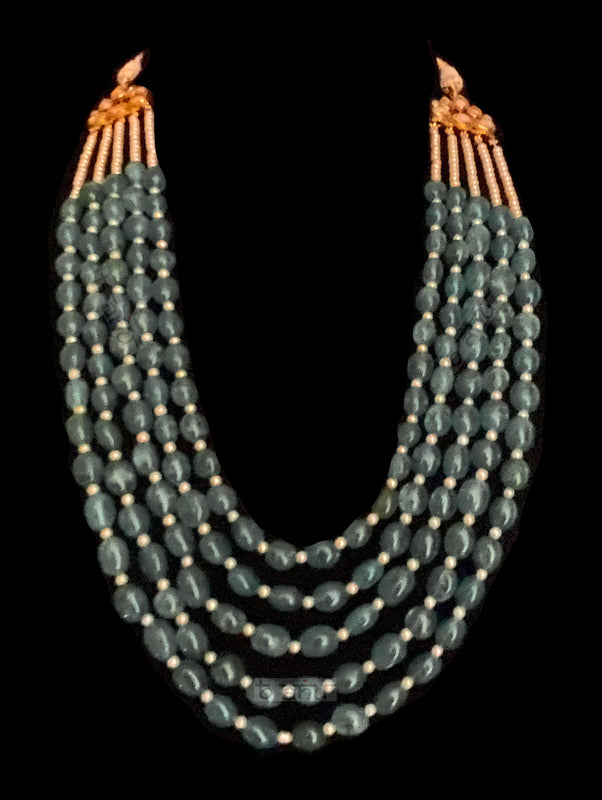 Diana Multi Strand Green Onyx Statement Necklace - bAnuDesigns