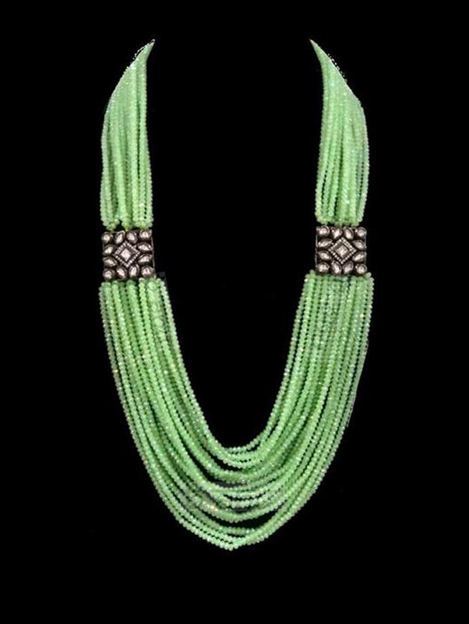 Elnaz Kundan Statement Set - Green - bAnuDesigns