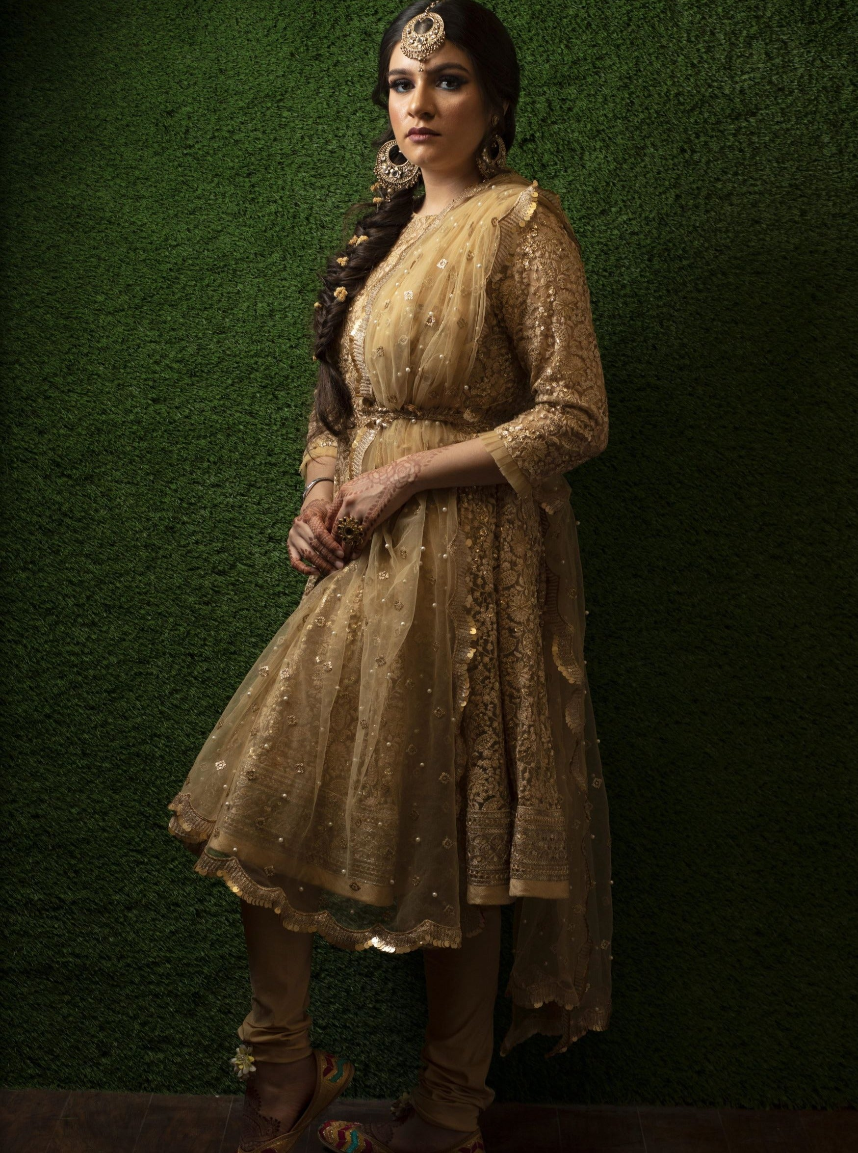 monochrome gold short anarkali