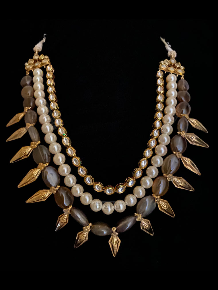 Garland Statement Necklace with  Grey Onyx, Pearls And Gold Enhancements