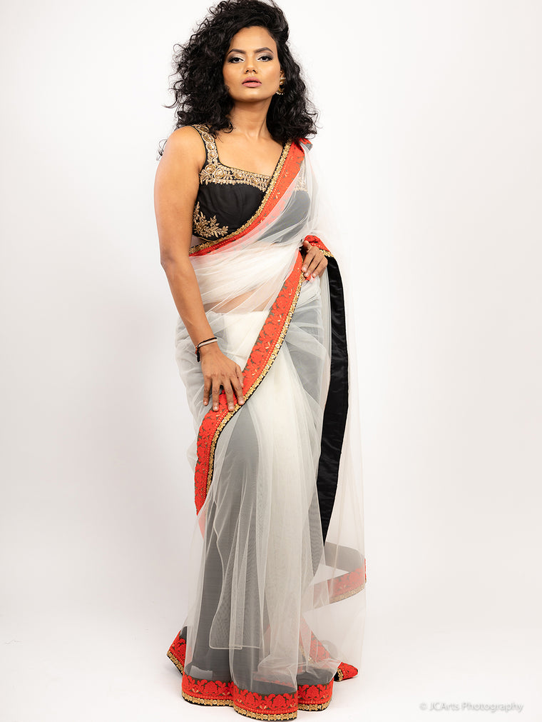 Giva - Red & Black Tulle Sari