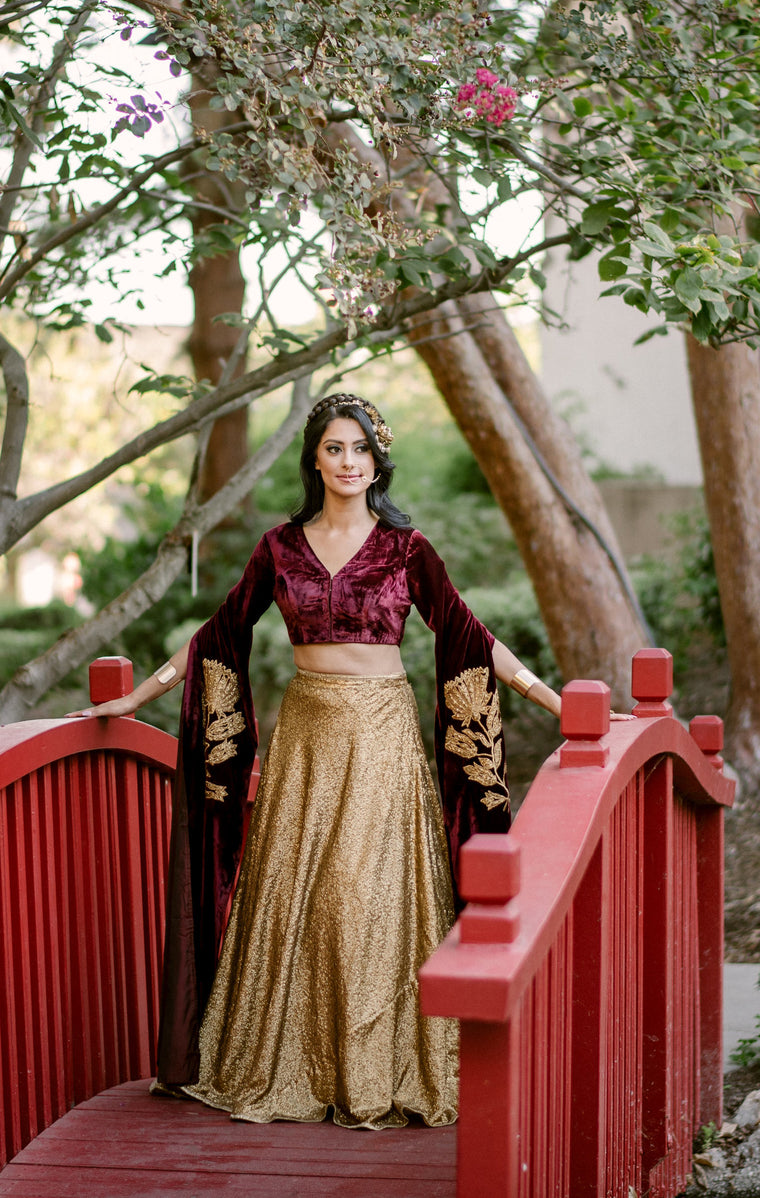 Golden Girl Lengha - Gold Sequin Lengha with Velvet cape blouse - bAnuDesigns