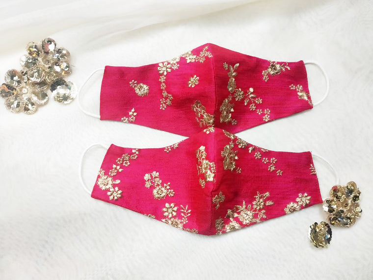 Bridal Silk Embroidery Face Mask - Fuchsia Pink
