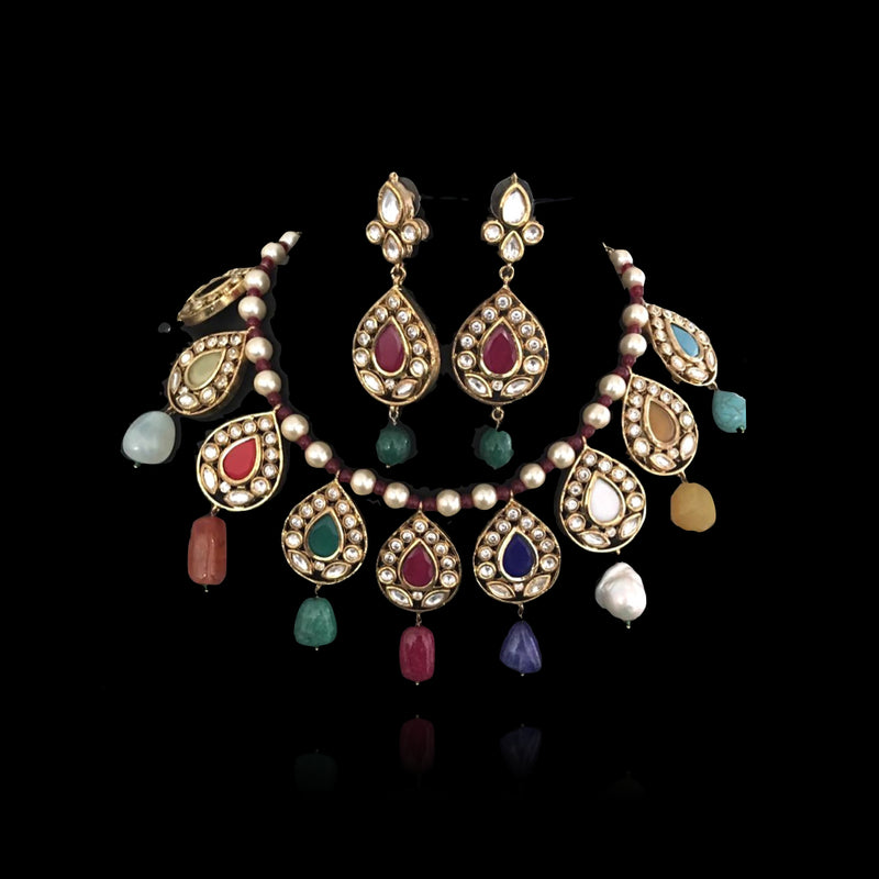Multi-colored Navratan Necklace With Stone Drops & Kundan Earrings - bAnuDesigns
