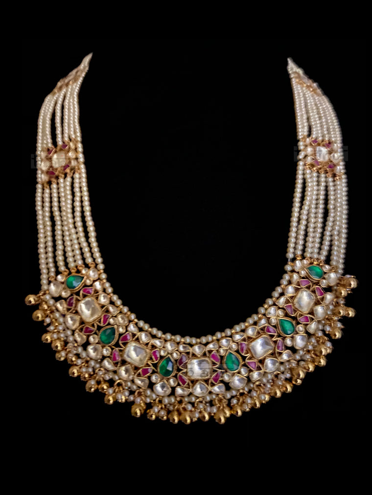 Jehan Multi Strand Pearls & Kundan Necklace with Precious Stones