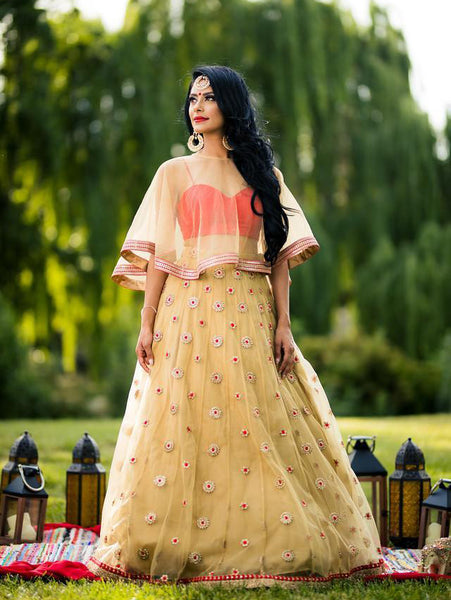 Lehenga with cape for Indian wedding guest outfit