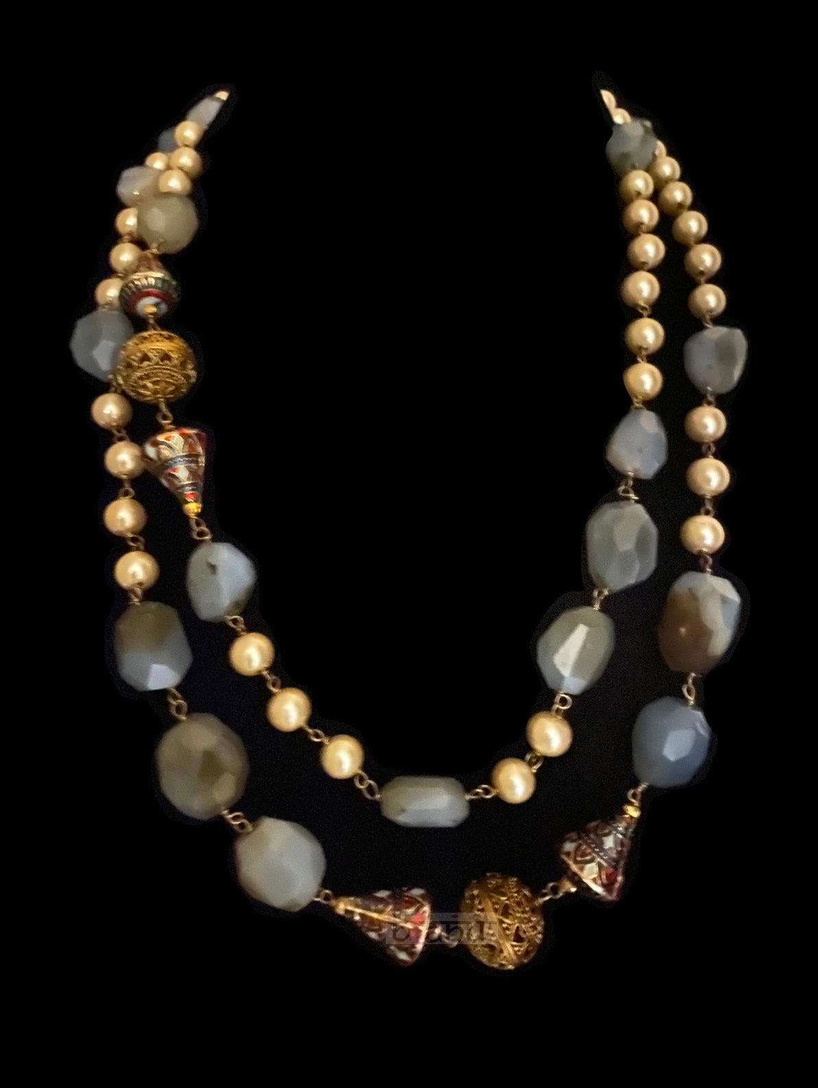 Mantra Necklace With Matte Grey Pearls & Gold Meenakari