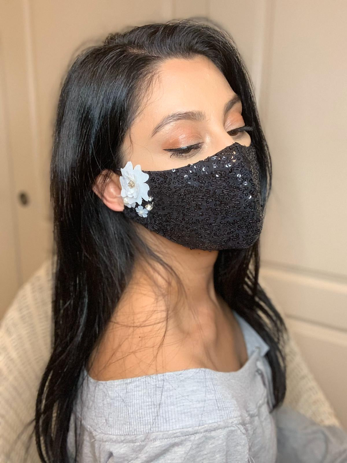 Sequin Face Mask w/White Applique Work - bAnuDesigns